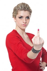 Beauty woman is showing middle finger