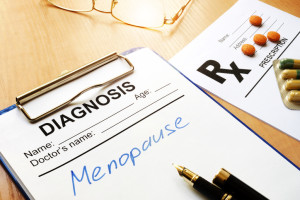Menopause written on a diagnosis form.