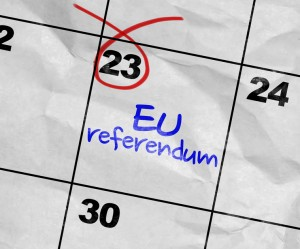 Concept image of a Calendar with the text: EU Referendum